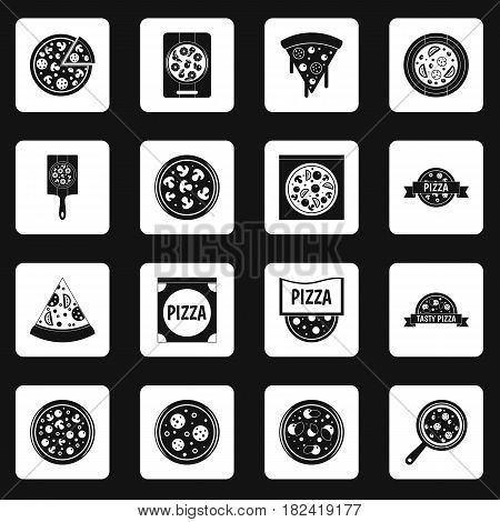 Pizza icons set in white squares on black background simple style vector illustration