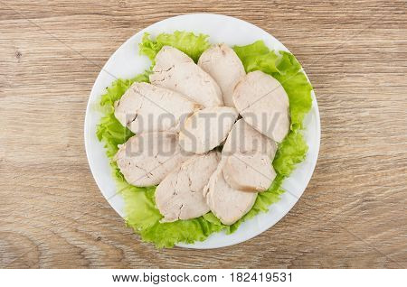 Boiled Chicken Meat On Leaf Lettuce In White Plate