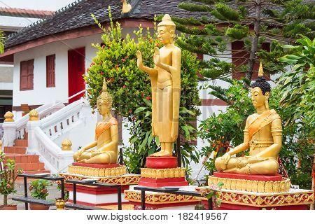 Luang Prabang, Laos - Jun 12 2015: Vat May Souvannapoumaram. A Famous Temple In Luang Prabang Which