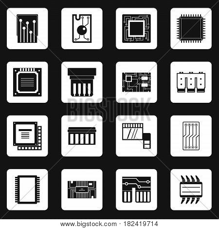 Computer chips icons set in white squares on black background simple style vector illustration