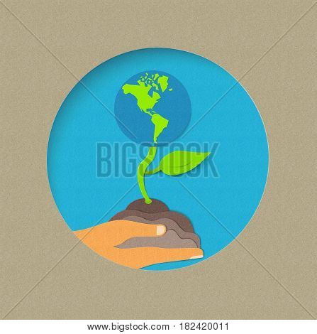 Earth Day Paper Cut World Nature Concept