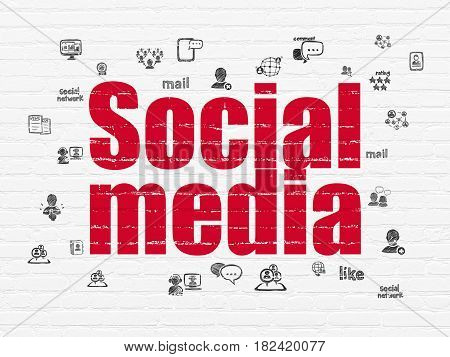 Social media concept: Painted red text Social Media on White Brick wall background with  Hand Drawn Social Network Icons