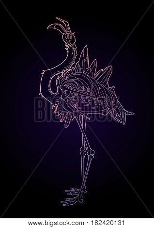 Graphic crystallizing demonic flamingo. Shabby bird with open skull and bones. Vector fantasy isolated art