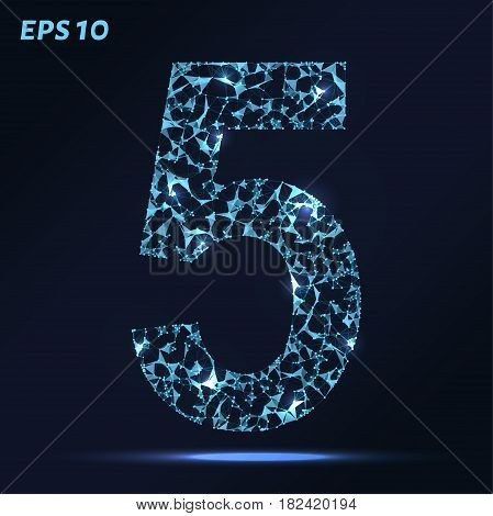 The Letter 5 Consists Of Points, Lines And Triangles. Vector Illustration.