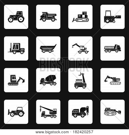 Building vehicles icons set in white squares on black background simple style vector illustration