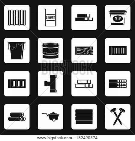 Building materials icons set in white squares on black background simple style vector illustration