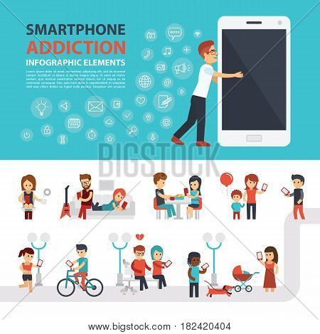 Smartphone addiction infographic elements with icon set, people with phones. Man hugs phone. Flat vector design. Banner, elements to use for web