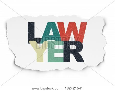 Law concept: Painted multicolor text Lawyer on Torn Paper background