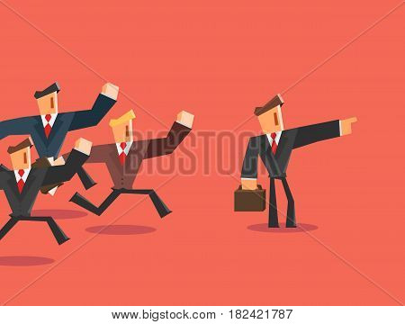 Businessman indicates direction for team. Leader concept. Vector illustration