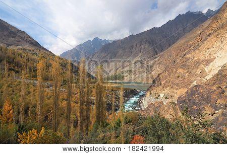 Golden Autumn Landscape Around Khalti Lake Along Hindu Kush Range, Gupis City, Ghizer Valley, Northern Pakistan