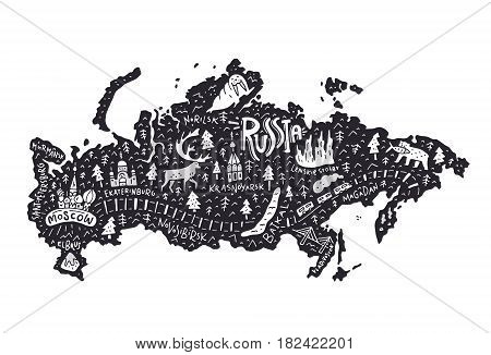 Travel series - cartoon map of Russia. Main sights and tourist attractions.