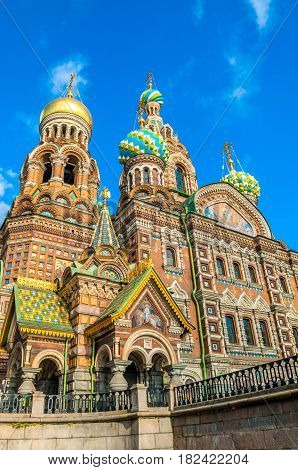 Cathedral of Our Savior on Spilled Blood in St Petersburg Russia in sunny day. Architecture autumn view of St Petersburg landmark - architecture landscape of St Petersburg, Russia