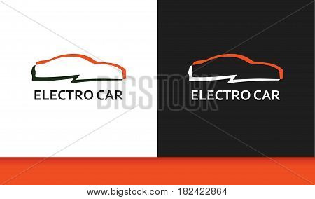 Logo of Electro Car in Colorful Style. Emblem of Eco Auto with Captions isolated on White and Black background.