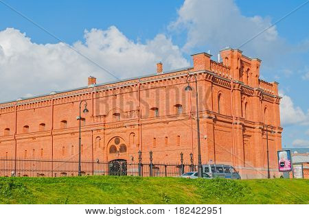 ST PETERSBURG RUSSIA - OCTOBER 3 2016. Building of Military Historical Museum of Artillery Engineers and Signal Corps and military weapon exhibits in the open air in St Petersburg Russia.Architecture landscape of St Petersburg, Russia