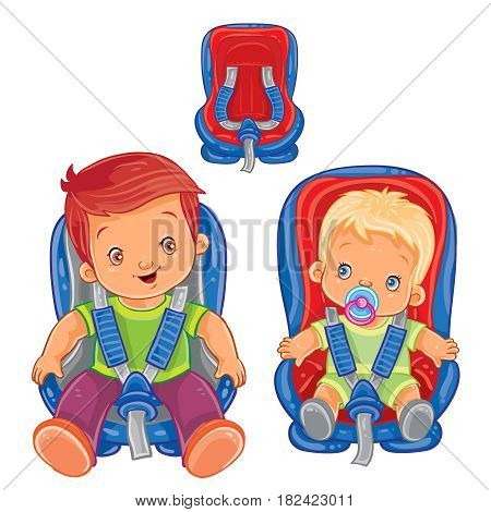 Vector illustration of small children in car seats