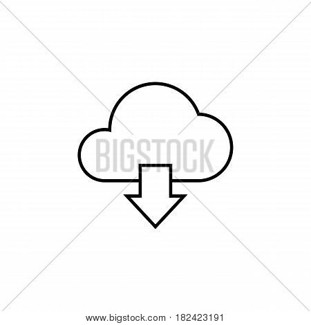 Cloud download line icon, web mobile application, download button, a linear pattern on a white background, eps 10.