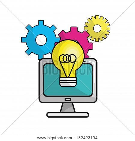 computer with idea bulb and gears process, vector illustration