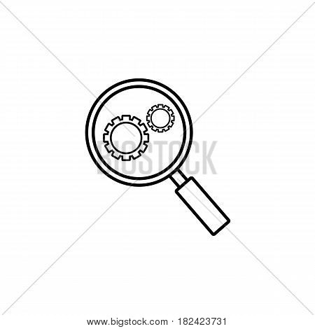 Research optimization line icon, seo and development, Magnifier with cog, a linear pattern on a white background, eps 10.