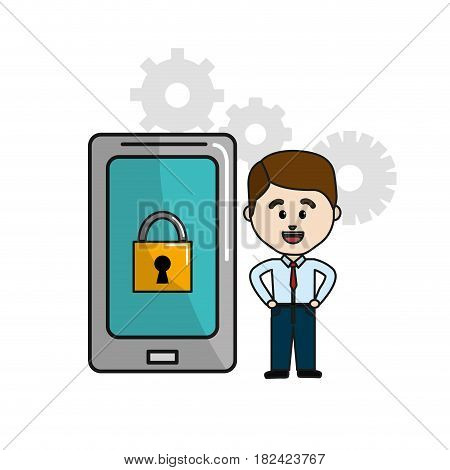 man with smartphone padlock security technology and gears, vector illustration