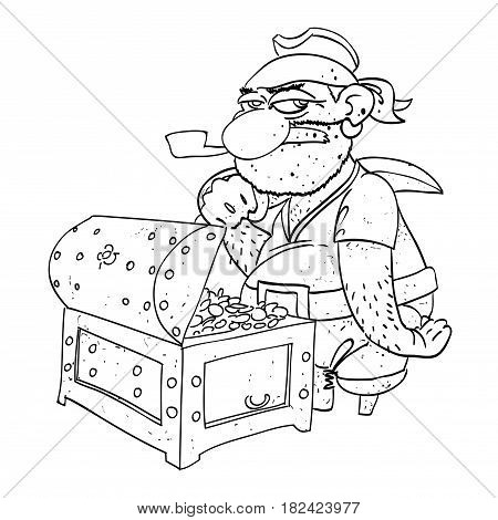 Cartoon image of pirate captain with treasure chest. An artistic freehand picture.