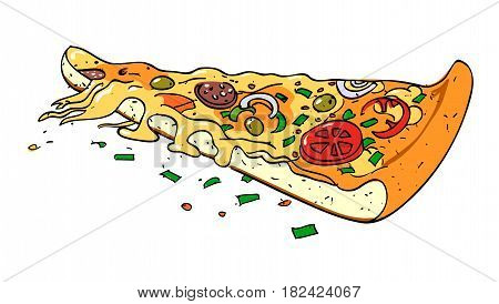 Cartoon image of pizza slice. An artistic freehand picture.