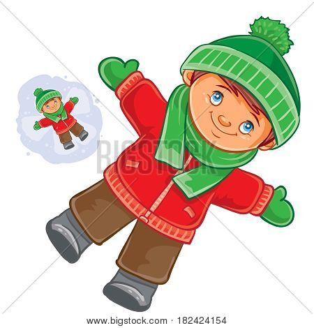 Vector winter illustration little child wallow in the snow