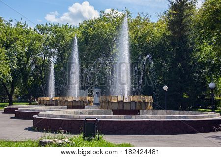 Old fountain in the city park of the Petropavl (russian name Petropavlovsk) Kazakhstan. The city is situated in northen Kazakhstan close to the border with Russia.