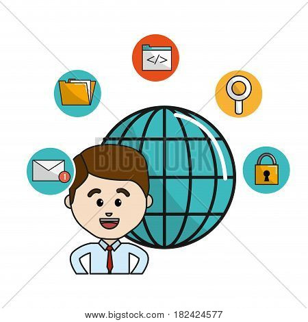 man with global data information and technology icons, vector illustration