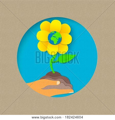 Earth Day Paper Cut Flower Nature Concept