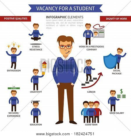 Vacancy for a student infographic elements, Headhunter life experience, Search job. Looking for employee.