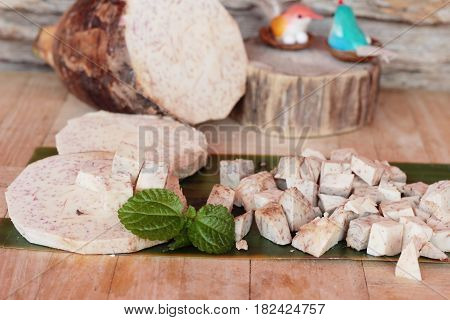 Taro root and taro cut small pieces