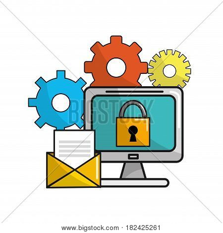 computer with padlock security message and gears, vector illustration