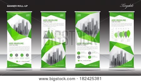 Roll up banner stand template design Green banner layout advertisement pull up polygon background vector illustration business flyer display x-banner flag-banner infographics presentation poster abstract geometric