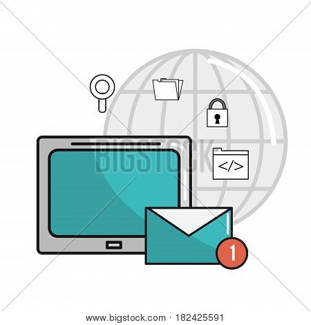 television with message service and technology icons, vector illustration