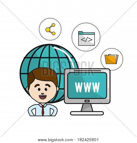 man with global computer connect service and digital icons, vector illustration