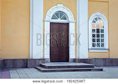 Metal doors of the Orthodox Cathedral of Saints Peter and Paul in Petropavl northern Kazakhstan. The building was built at the beginning of the XIX century.