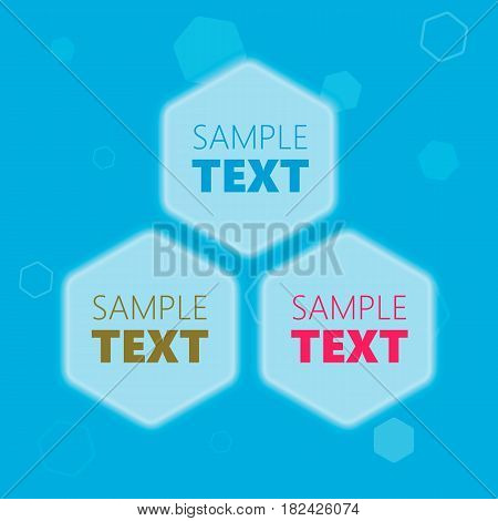 Blue glowing futuristic hexagonal honeycomb shaped text placeholder frames for presentation