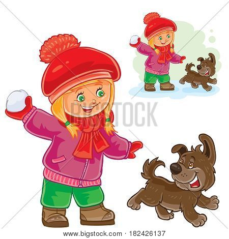Vector illustration of small girl playing snowballs. Print