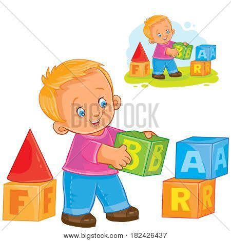 Vector illustration little boy playing with blocks. Print