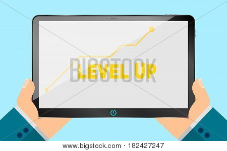 A business man is holding an electronic tablet. new technologies. Illustration in a flat style. Eps 10. Analytical scale of increase. Business level. Modern style