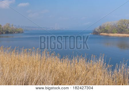 Spring spring landscape with Dnepr river near Dnepr city Ukraine