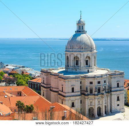 Church And Sea View, Lisbon, Portugal.