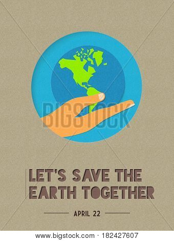 Happy Earth Day Paper Cut World Illustration Quote
