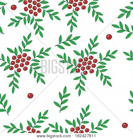 Seamless pattern with red rowan berry and green leaf. Vector background with red berry for printing on fabric paper for scrapbook gift wrap.