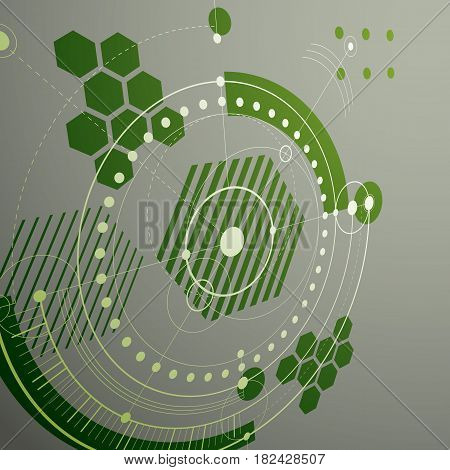 Modular Bauhaus 3d vector background created from geometric figures like circles and lines. Best for use as advertising poster or banner design. Green abstract mechanical scheme.