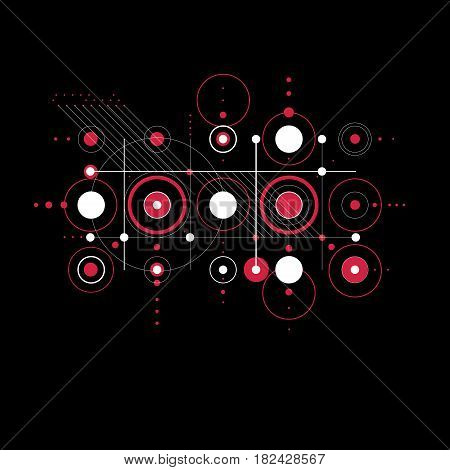 Bauhaus art composition red decorative modular vector backdrop with circles and grid. Retro style pattern graphic backdrop for use as booklet cover template.