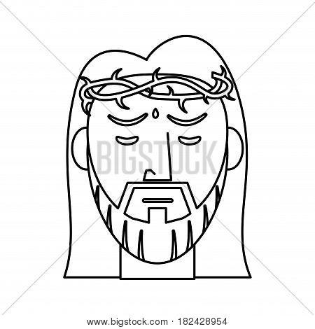 jesus christ crown of thorns outline vector illustration eps 10