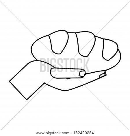 hand holding bread miracle symbol outline vector illustration eps 10