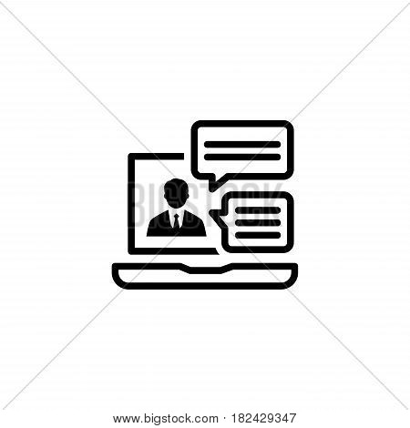 Online Consulting Icon. Business Concept. Flat Design Isolated Illustration. App Symbol or UI element. Laptop with online consultant session.