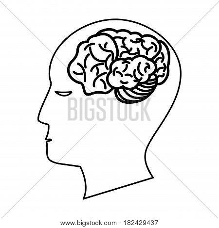 human head brain creativity outline vector illustration eps 10